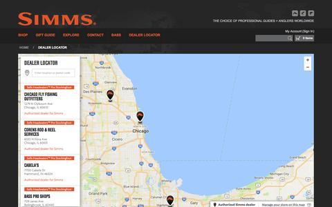 Screenshot of Maps & Directions Page simmsfishing.com - Dealer Locator - captured Nov. 30, 2016