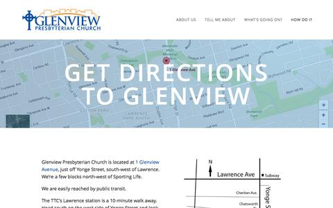 Screenshot of Maps & Directions Page glenviewchurch.ca - Get directions to Glenview — Glenview Presbyterian Church - captured Jan. 29, 2016