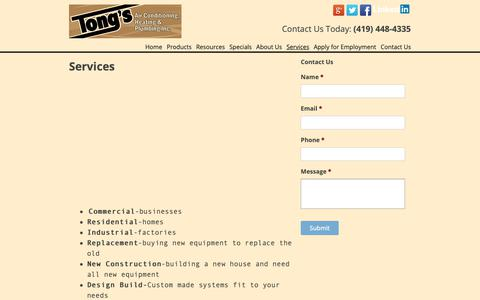 Screenshot of Services Page tongsac.com - Services - Tong's Air Conditioning, Heating & Plumbing - captured Oct. 19, 2018