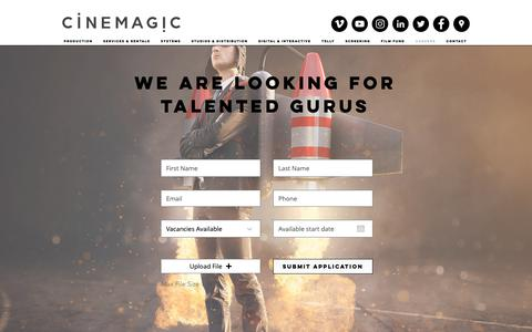 Screenshot of Jobs Page cinemagics.com - Careers | Kuwait | Cinemagics - captured Nov. 4, 2018