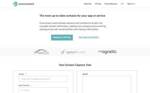 Screenshot of Developers Page evercontact.com - Developer & APIs | evercontact - captured Jan. 6, 2018