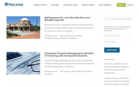 Screenshot of Case Studies Page paylease.com - Client Support | PayLease - captured Aug. 4, 2018