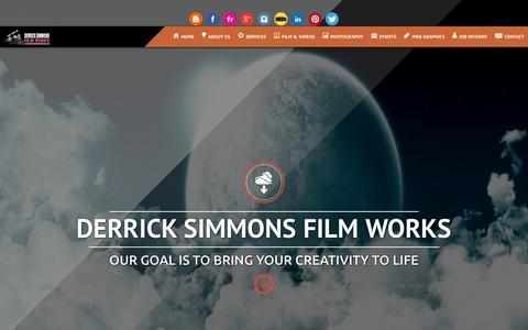 Screenshot of Home Page derricksimmonsfilmworks.com - Derrick Simmons Film Works - captured Jan. 28, 2015