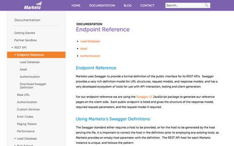 Screenshot of marketo.com - Endpoint Reference - Marketo Developers - captured June 8, 2017