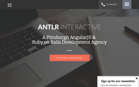 Screenshot of Home Page antlr-interactive.com - ANTLR Interactive | Pittsburgh AngularJS & Ruby on Rails Development Agency - captured July 28, 2018