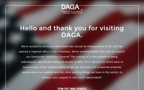Screenshot of Home Page democraticags.org - Democratic Attorneys General Association: DAGA - captured Jan. 21, 2017
