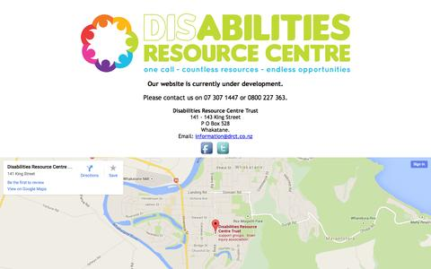 Screenshot of Home Page drct.co.nz - Disability Resource Centre Trust - captured Jan. 23, 2015