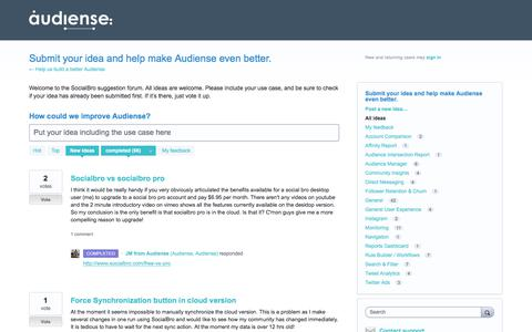 Submit your idea and help make Audiense even better.: completed (66 ideas) – Help us build a better Audiense