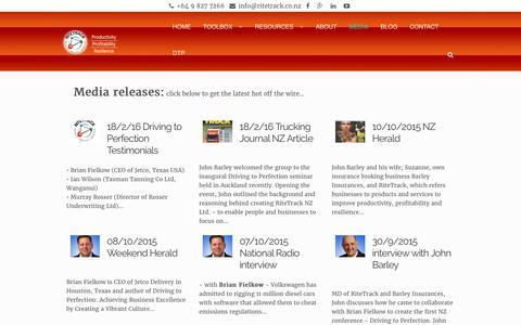 Screenshot of Press Page ritetrack.co.nz - Media – RiteTrack - captured Oct. 22, 2017