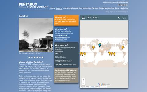 Screenshot of About Page pentabus.co.uk - About us | Pentabus Theatre - captured Nov. 1, 2016