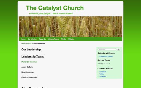 Screenshot of Team Page thecatalystchurch.com - Our Leadership | The Catalyst Church - captured Oct. 26, 2014