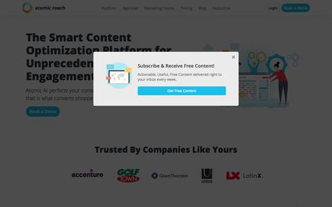 Screenshot of Home Page atomicreach.com - Atomic Reach   Content Optimization Platform for Marketers - captured July 6, 2019