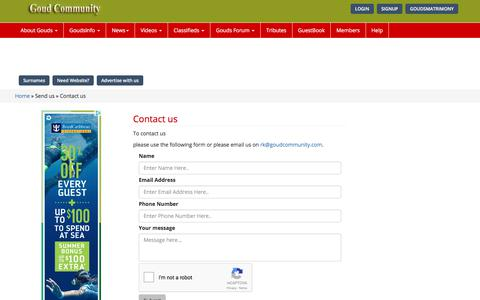 Screenshot of Contact Page goudcommunity.com - contact us - goudcommunity - captured Jan. 12, 2018