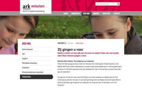 Screenshot of Testimonials Page arkmission.nl - Wat zeggen donateurs over ons werk? - Ark Mission - captured Sept. 30, 2014