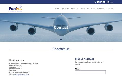 Screenshot of Contact Page fuelplus.com - Contact Us - FuelPlus Aviation Fuel Management Software - captured Nov. 14, 2018