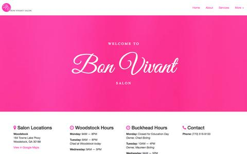 Screenshot of Home Page bonvivantsalon.com - Bon Vivant Salon - captured Jan. 28, 2015
