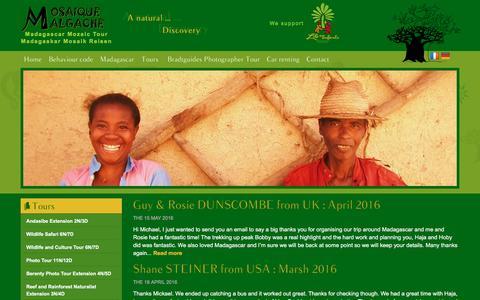 Screenshot of Testimonials Page madagascar-mozaic-tour.com - Testimonials | MOSAIQUE MALGACHE - captured Sept. 26, 2016