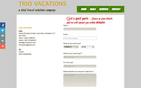 Screenshot of Contact Page triovacations.com - Contact - captured Oct. 8, 2014