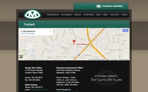 Screenshot of Contact Page mundycos.com - The Mundy Companies - Contact - captured Oct. 6, 2014