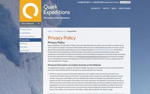 Screenshot of Privacy Page quarkexpeditions.com - Privacy Policy | Quark Expeditions - captured Oct. 28, 2014