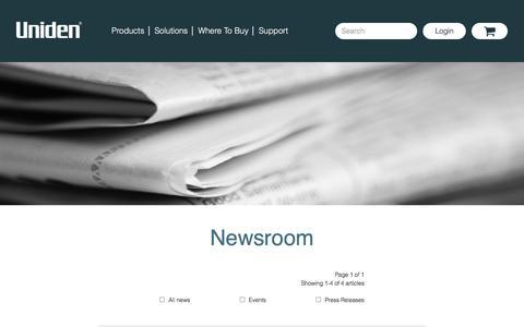 Screenshot of Press Page uniden.com - Newsroom Archives - Uniden - captured Sept. 20, 2018