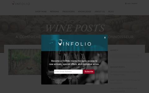 Screenshot of Blog vinfolio.com - Vinfolio Blog | Wine Posts - Industry News & Collector Resources - captured Jan. 20, 2019