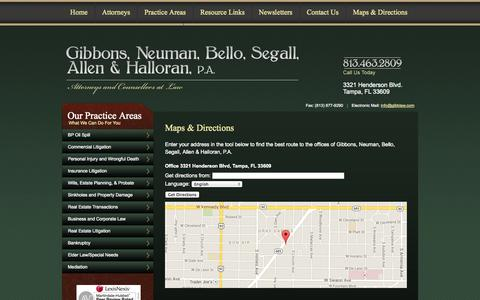 Screenshot of Maps & Directions Page gibblaw.com - Directions the General Law Firm of Gibbons, Neuman, Bello, Segall, Allen & Halloran, P.A. - captured Oct. 2, 2014