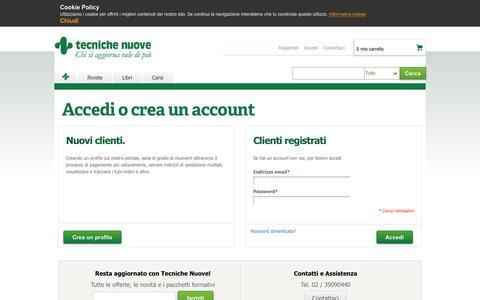 Screenshot of Login Page tecnichenuove.com - Accesso Cliente - Tecniche Nuove - captured Sept. 28, 2016