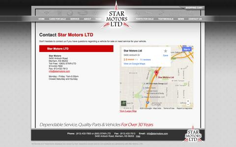 Screenshot of Contact Page Maps & Directions Page starmotors.com - Star Motors - Quality Service & Parts for Mercedes, BMW, Jaguar and All European Vehicles - captured Oct. 26, 2014