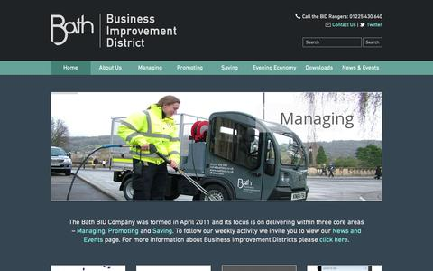 Screenshot of Home Page bathbid.co.uk - Welcome to the Bath BID Web Site - Bath Business Improvement District - captured Feb. 15, 2016