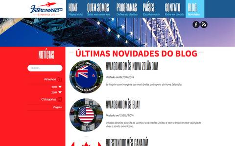 Screenshot of Blog interconnect.vc - Dicas e Novidades sobre Viagens e Programas de Intercâmbios -  Interconnect Experience Life - captured Oct. 1, 2014