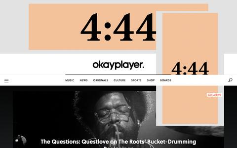Screenshot of Home Page okayplayer.com - Okayplayer - Hip Hop Music, Audio, Video, Reviews, News, Interviews, Blogs and Discussion Board - captured June 16, 2017