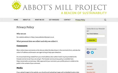 Screenshot of Privacy Page abbotsmillproject.co.uk - Privacy Policy | Abbots Mill Project - captured Oct. 18, 2018