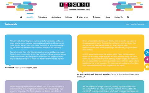 Screenshot of Testimonials Page syngene.com - Testimonials - Syngene - captured Oct. 19, 2018