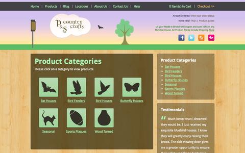 Screenshot of Products Page pscountrycrafts.com - Product Categories | P&S Country Crafts - captured Oct. 1, 2014