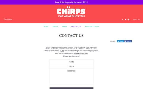 Screenshot of Contact Page sixfoods.com - CONTACT US – Chirps Chips - captured July 22, 2016