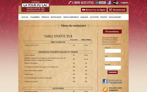 Screenshot of Menu Page latourdulac.ca - Menu du restaurant Ste-Agathe, Laurentides - Auberge La Tour Du Lac - captured Oct. 9, 2017