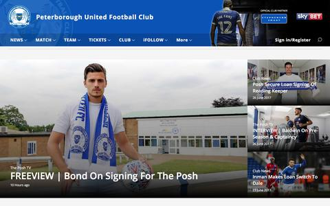 Screenshot of Home Page theposh.com - Peterborough United - captured June 27, 2017