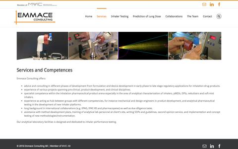 Screenshot of Services Page emmace.se - Services - Emmace Consulting AB - captured Nov. 6, 2016