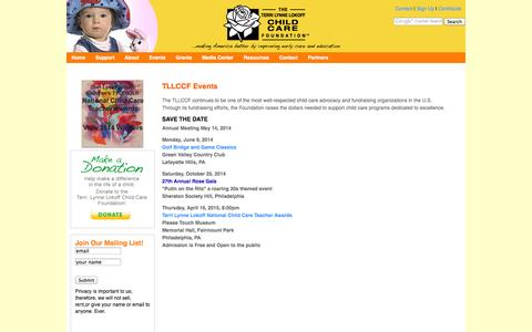 Screenshot of Signup Page tllccf.org - Terri Lynne Lokoff Child Care Foundation Events - captured Oct. 26, 2014