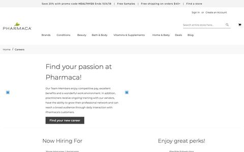 Screenshot of Jobs Page pharmaca.com - Careers  | Pharmaca - captured Oct. 4, 2018
