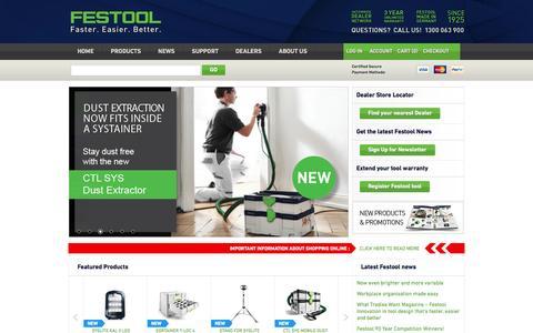 Screenshot of Support Page festool.com.au - Festool Australia - Faster. Easier. Better. - captured Feb. 10, 2016