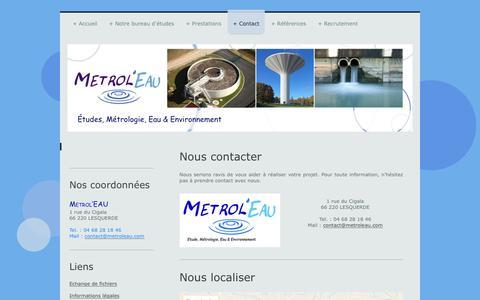 Screenshot of Contact Page metroleau.com - Metrol'EAU, Bureau d'études Eau & Environnement - Contact - captured June 10, 2017