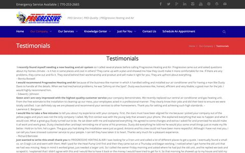 Screenshot of Testimonials Page progressiveac.com - Testimonials - Progressive Heating and Air - captured Sept. 30, 2018