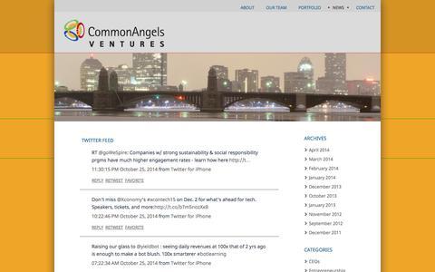 Screenshot of Press Page commonangels.com - News   CommonAngels - captured Oct. 27, 2014