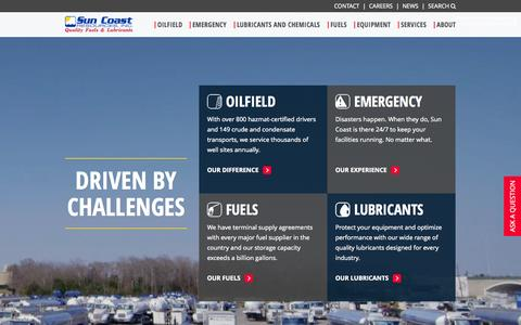 Screenshot of Home Page suncoastresources.com - Used Oil Retrieval | Sun Coast Resources | Fuel Delivery - captured Sept. 2, 2015