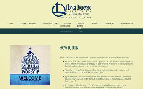 Screenshot of About Page fbbc.org - Florida Boulevard Baptist Church | About Us - captured Sept. 25, 2016