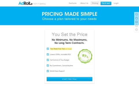 Screenshot of Pricing Page adroll.com - Dynamic CPM Pricing | AdRoll - captured July 20, 2014