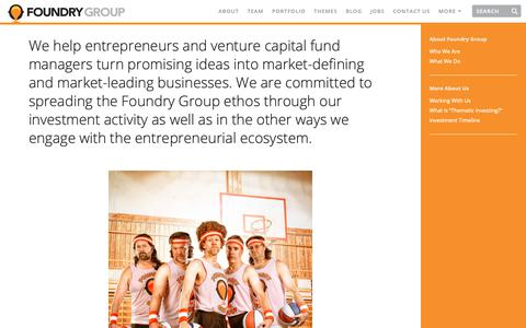 Screenshot of About Page foundrygroup.com - About Foundry Group | Foundry Group - captured Nov. 6, 2018