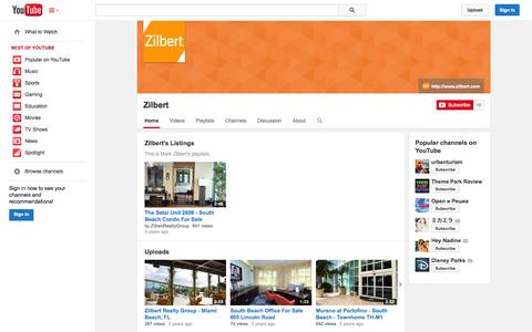 Screenshot of YouTube Page youtube.com - Zilbert  - YouTube - captured Oct. 26, 2014